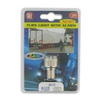 391403 AMPOULE ALARME CLIGNOTANT 9 LEDS BA15S 24V BLANC