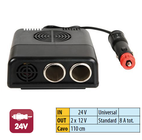 CONVERTISSEUR de TENSION 24>12 V  - 8A