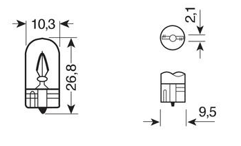 Ampoule W5W OSRAM témoin culot en verre