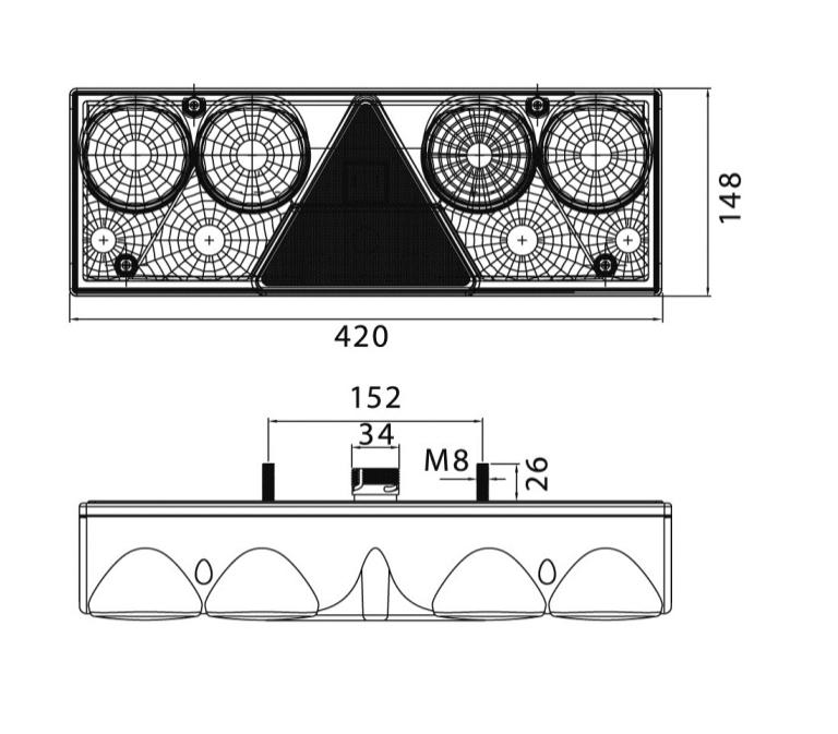 Feu arrière gauche avec triangle et connecteurs
