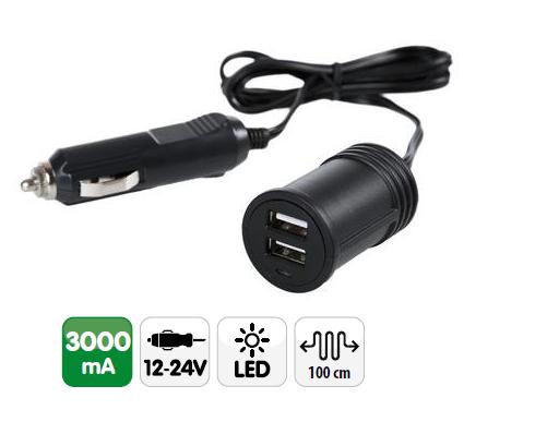 Prise allume cigare 2 ports USB + câble 3000 mA