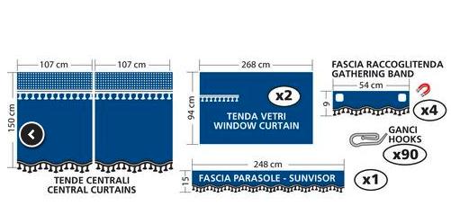 Set complet de rideaux pour cabine en microfibre
